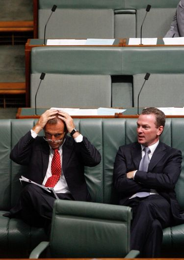 Leader of the Opposition Tony Abbott and Shadow Minister for Education, Apprenticeships and Training Christopher Pyne ...
