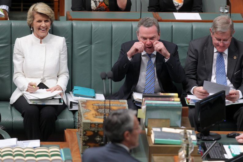 Leader of the House Christopher Pyne during a point of order during Question Time at Parliament House in Canberra on ...