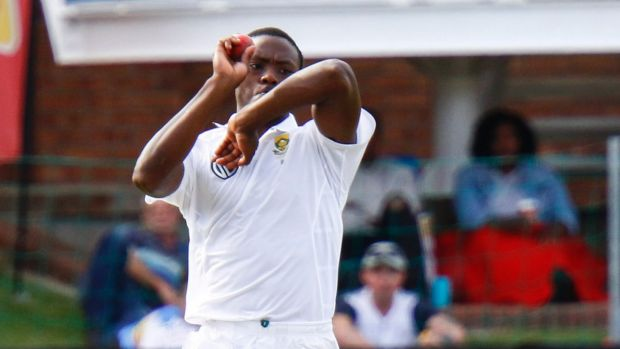 South Africa's Kagiso Rabada bowls on the first day of the second cricket test.