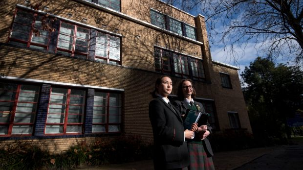 Former students Caitlin and Freya outside the iconic The Mac.Robertson Girls' High School.