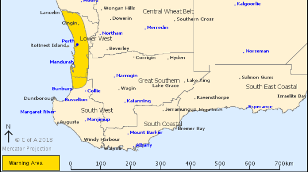 The area where the severe weather warning applies tonight.