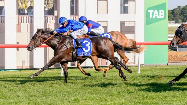 Encryption reels in Sizzling Belle at the finish to salute in the 2018 Black Opal Stakes.