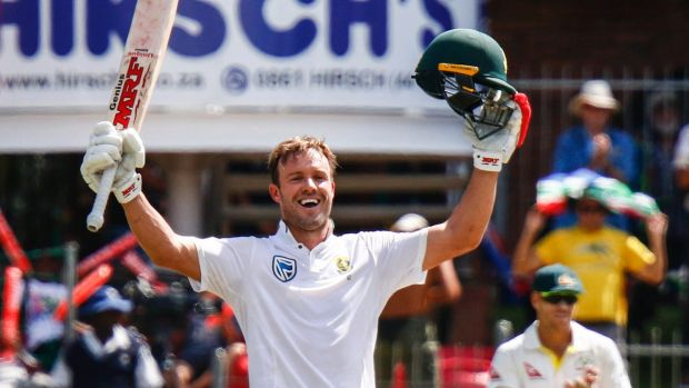 Imperious: AB de Villeirs celebrates his century on the third day in Port Elizabeth.