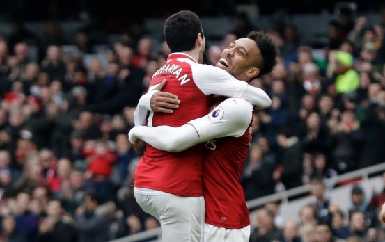 Henrikh Mkhitaryan and Emerick Aubameyang celebrate Mkhitaryan's goal at the Emirates.