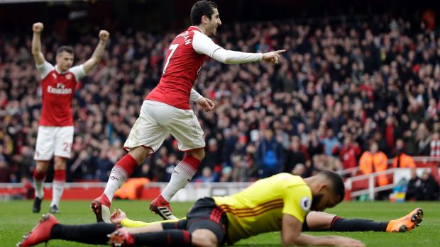 Arsenal's Henrikh Mkhitaryan celebrates after scoring against Watford.