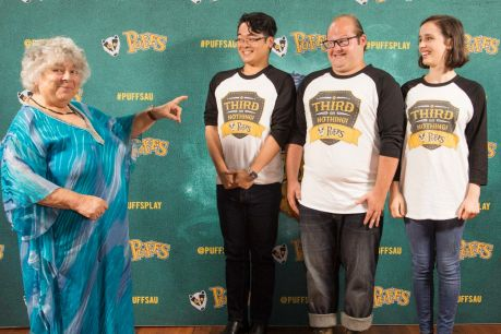 Miriam Margolyes with the cast of Harry Potter-inspired play Puffs:Keith Brockett, Ryan Hawkes and Eva Seymour.