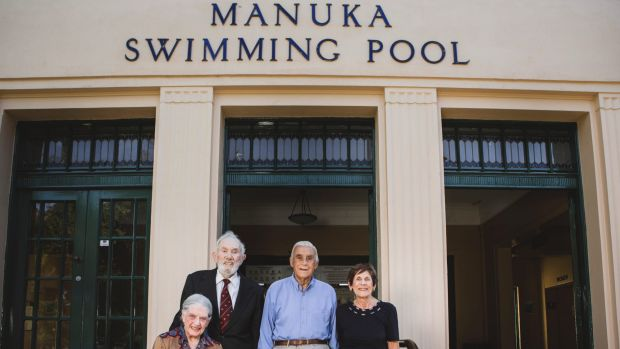 Honour Role unveiling at Manuka Pool. From left, Merv Knowles and his wife Beth, and Barry Browning and his siter Judy ...