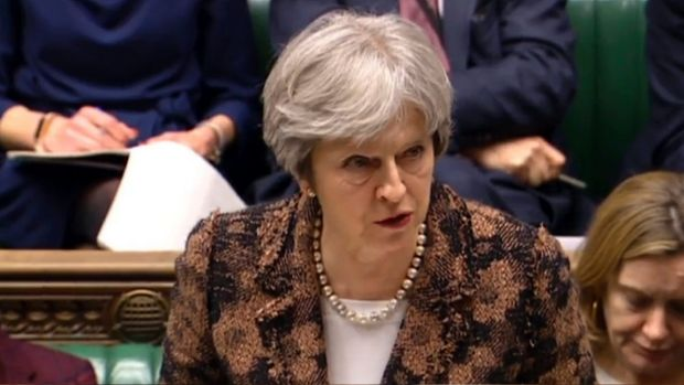 """""""Highly likely"""" Theresa May speaks in the House of Commons in London."""