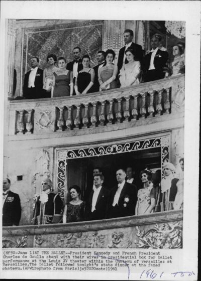 Jacqueline Kennedy (bottom right) wore a beaded Givenchy gown on June 1, 1961, when attending the a ballet performance ...
