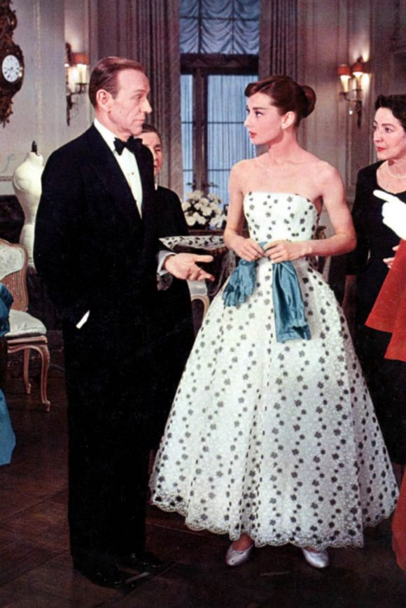 Audrey Hepburn, wearing Givenchy, stands alongside Fred Astaire in the 1955 film Funny Face.