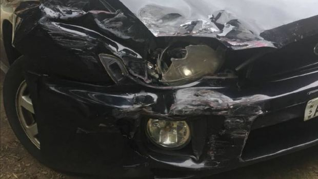Sophie Kinnane's Subaru Impreza was damaged, but the crash could have been far worse.