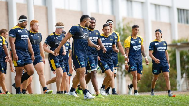Brumbies players arrive for training. Photo: Terry Cunningham