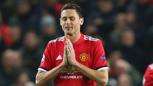 Down and out: Nemanja Matic reacts after the second goal which sealed the result.