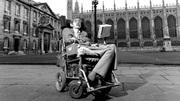 Stephen Hawking at Cambridge University in September 1988.