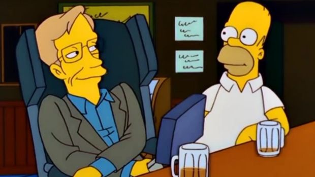 Stephen Hawking enjoys a beer with Homer Simpson.