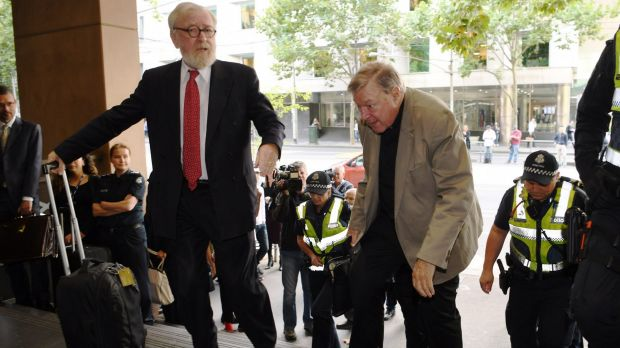 Robert Richter QC and Cardinal Pell arrives at the Melbourne Magistrates Court last week.