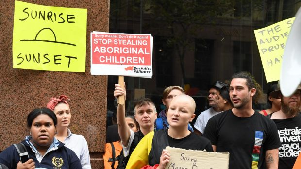 Protesters outside the Channel Seven television studios in Martin Place following the controversial segment.