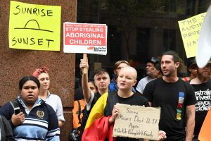 Protesters outside the Channel 7 television studios in Martin Place.