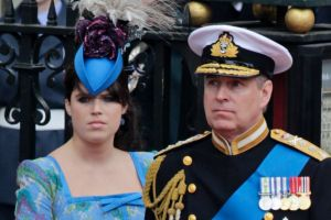 Britain's Prince Andrew, center, and his daughters Britain's Princess Eugenie, left, and Britain's Princess Beatrice ...