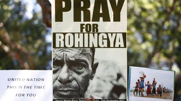 Rohingya supporters hold placards during a protest against Aung San Suu Kyi as she visits Australia in March.