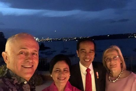 Prime Minister Malcolm Turnbull posted a photo of himself with his wife Lucy and  the President of Indonesia Joko Widodo ...