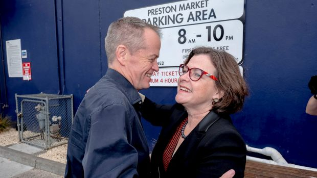Bill Shorten with newly elected member for Batman Ged Kearney  at the Preston Market on Sunday.