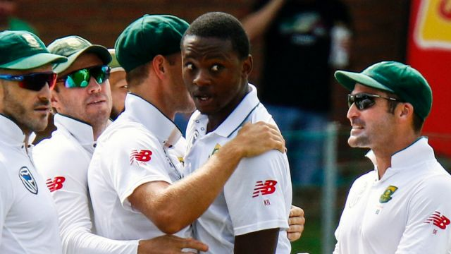 He's back: Kagiso Rabada (centre) will line up against Australia at Newlands on Thursday.