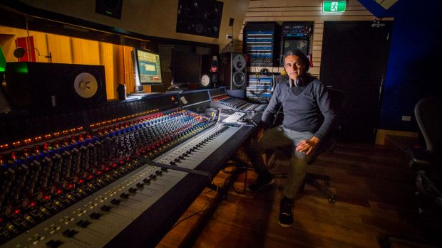 ANU senior lecturer in composition Dr Kim Cunio in the university's new recording studio.