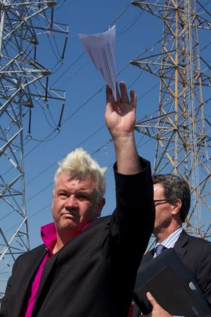 Darryn Lyons, then mayor of Geelong, at the Alcoa aluminium plant after its closure was announced in February 2014.