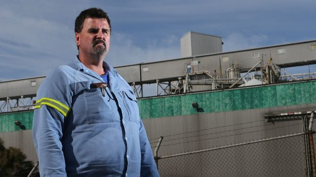 Brett Noonan, Alcoa employee and union delegate, at the Point Henry smelter in Geelong, April 2014.