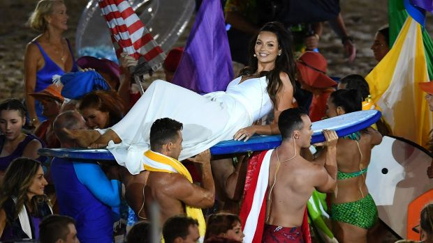 Australian singer Ricki-Lee Coulter at the opening ceremony..