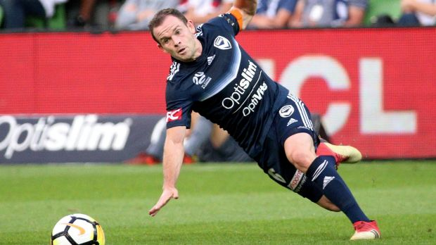 Unfortunate slip:  An early error by Victory defender Leigh Broxham gifted Wellington the lead.
