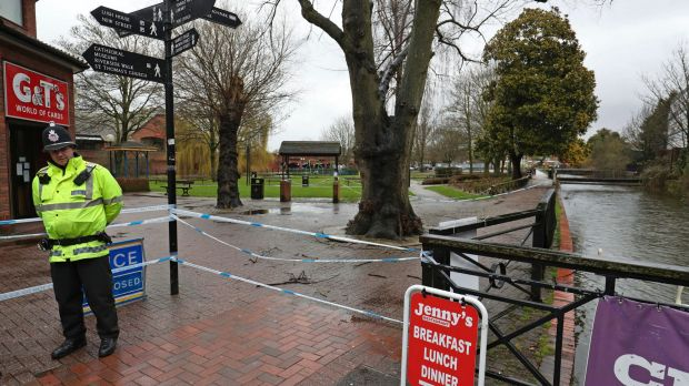 A police officer at a cordon near the Maltings in Salisbury, England where Russian former double agent spy Sergei ...