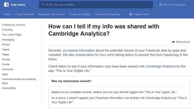 What Facebook's support page looks like if your data was not likely to have been accessed by Cambridge Analytica.