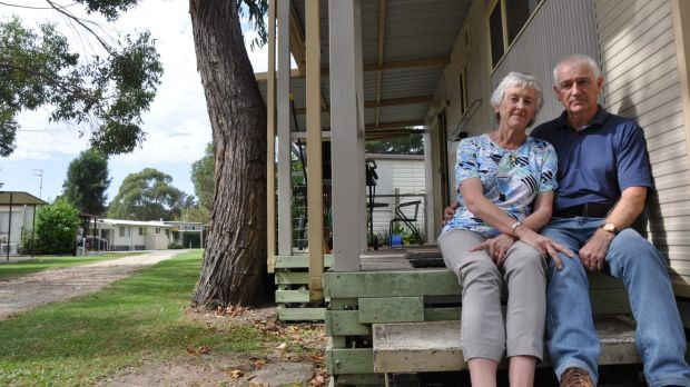 Canberra couple Elizabeth and Robin Turnbull outside their cabin, which they will soon be forced to remove from Tomaga ...