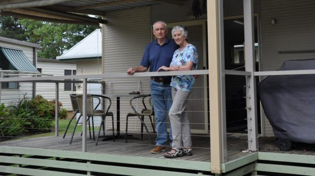 Robin and Elizabeth Turnbull bought their cabin at Tomaga River Holiday Park seven years ago.
