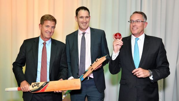 Seven West Media CEO Tim Worner, Cricket Australia CEO James Sutherland and Sports CEO Patrick Delaney at the ...