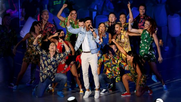 Guy Sebastian was one of a number of local artists who performed at the closing  ceremony on Sunday night.