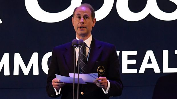 Prince Edward speaks  on stage as the Games came to a formal end.