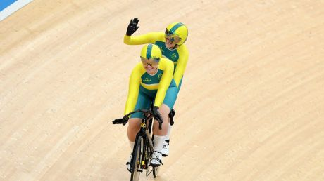 Australian cyclists Jessica Gallagher (rear) and Madison Jansenn ride to qualify in the women's B&VI sprint event on ...