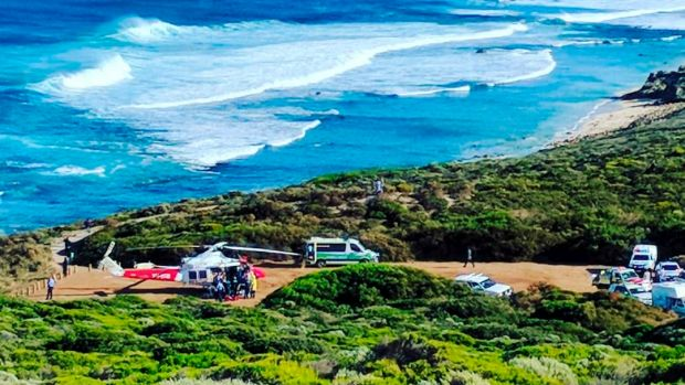 Ambulances arrive at the South West surf break after the first attack this week.