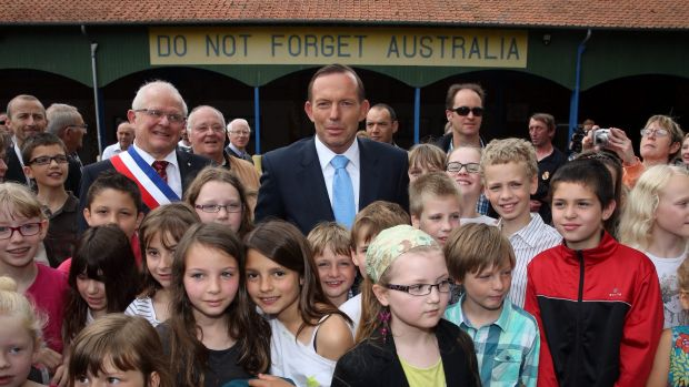 Former prime minister Tony Abbott visited the Victoria School in Villers-Bretonneux in France in 2015.