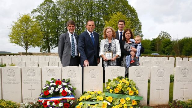 Former prime minister Tony Abbott attended the headstone dedication ceremony for Corporal Athol Kirkland, along with the ...