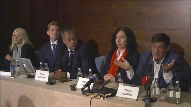 Herve Jaubert, right a former  French spy, speaks during a press conference with Radha Stirling, the founder and CEO of ...