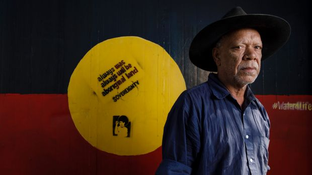 """Frontier Wars Story Camp convener Chris """"Peltherre"""" Tomlins at the Aboriginal Tent Embassy on Tuesday."""