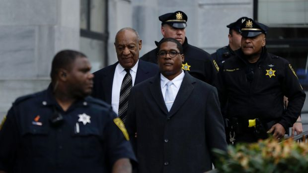 Bill Cosby departs after his sexual assault retrial, Monday, April 16.