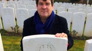Chris Latham at his great-uncle's grave.