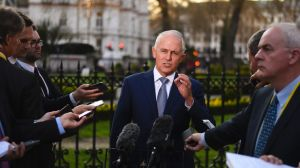 Prime Minister Malcolm Turnbull speaks to the media during a press conference in London.