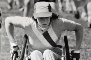 Deahnne McIntyre, of Rivett, was the first person in a wheelchair to cross the finish line. (1984)