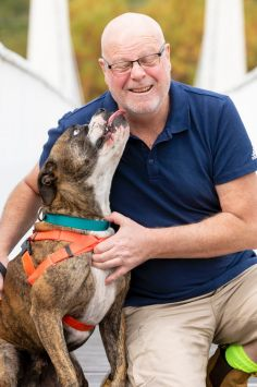 After waiting to be adopted since November, Cooper has found a new home with Bill Peisley. Photo: Sitthixay Ditthavong